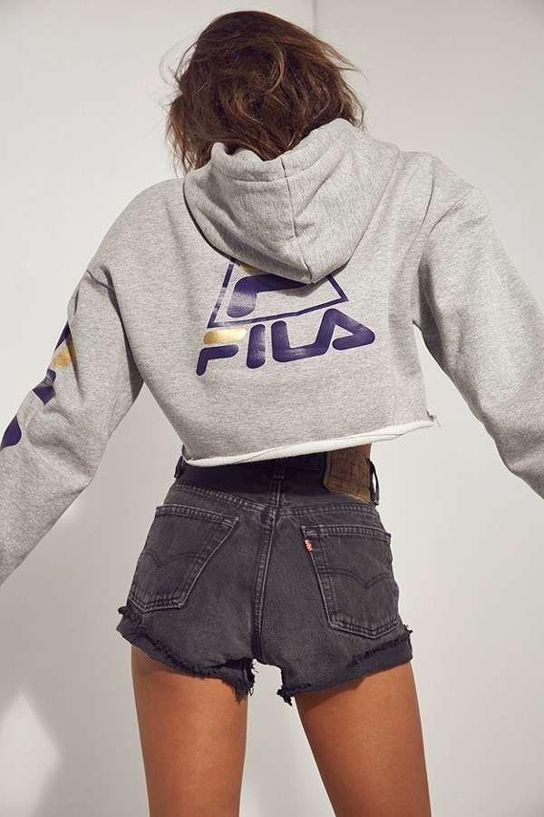 FILA + UO Basketball Cropped Hoodie Sweatshirt | Urban Outfitters | Women's | Hoodies and Sweatshirts #urbanoutfitterseu #uoeurope