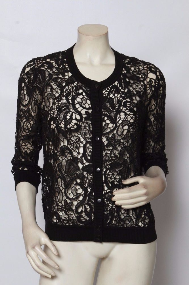 Rondina Black Embroidered Lace Button Up Cardigan Sweater Sz XS s ...
