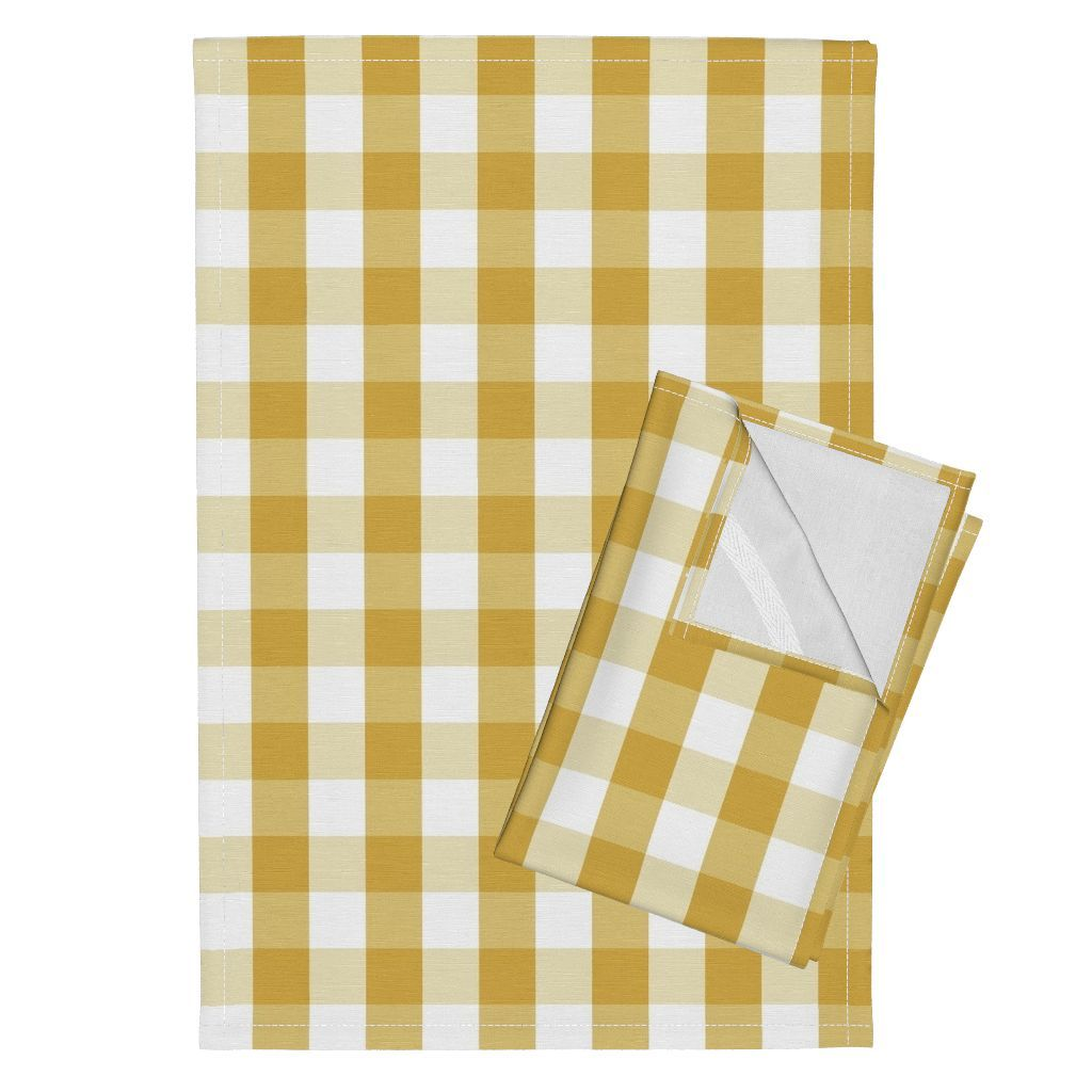 Designer Spicy Mustard Yellow Gingham Check Linen Tea Towels Set