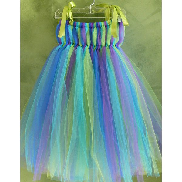 Peacock Empire Waist Tutu Dress-Flower Girl or Birthday Dress-perfect... ($55) ❤ liked on Polyvore