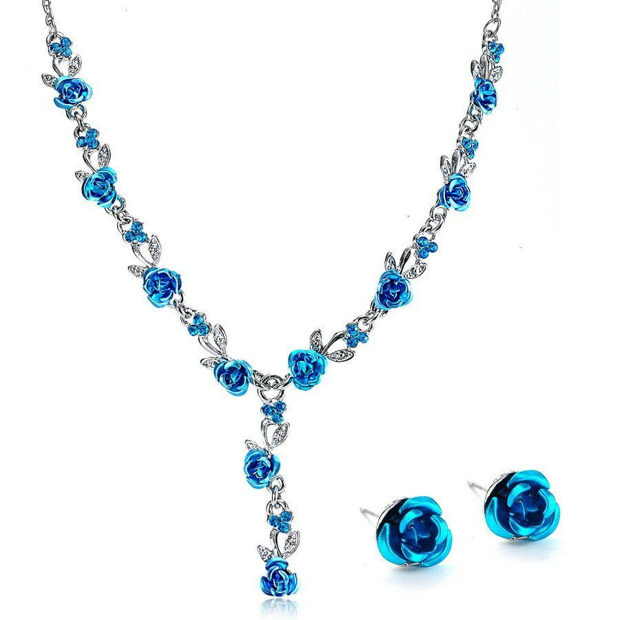 Fashion #vintage Necklace Earrings Wedding Bridal Jewelry Sets For Women  #flower Necklace Marriage #