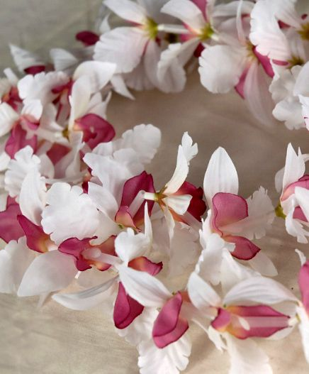 Orchids flowers petals leis pinterest leis silk flowers and silk flower leis orchid cream burgundy 299 each 10 for 2 each click to enlarge mightylinksfo