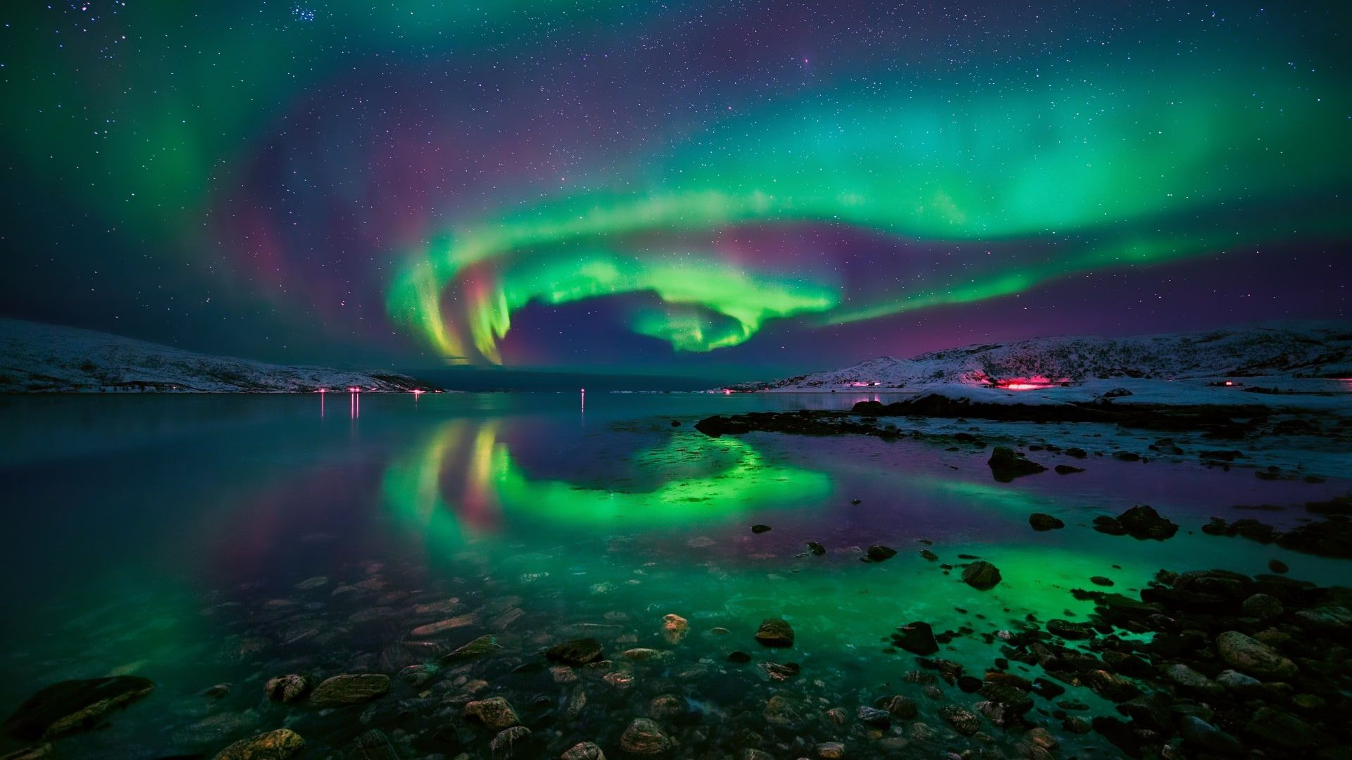 Night Sky Aurora Borealis Starry Night Northern Lights Polar Lights Europe Tromso Norway 1080p Wallpaper Hdwa In 2020 Northern Lights Aurora Borealis Night Skies
