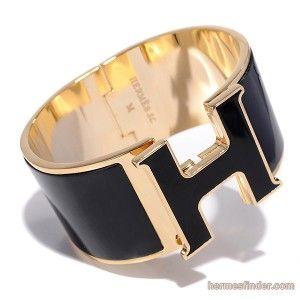 Hermes Click Clack H Super Wide Black Gold Replica Bracelet 109