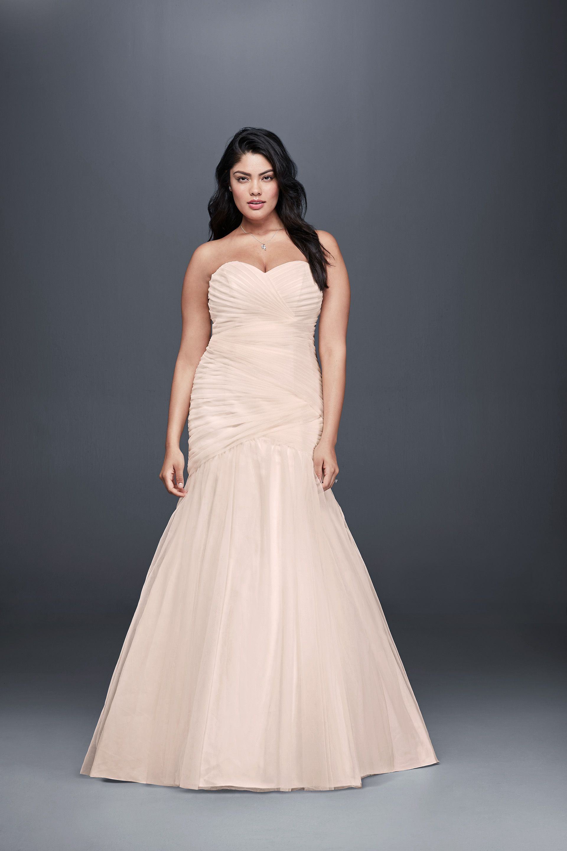 Strapless Tulle Plus Size Blush Wedding Dress Mermaid Silhouette By Davids Bridal Collection