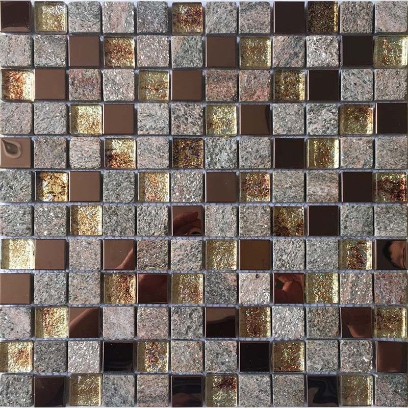Natural Stone And Glass Mosaic Sheets Stainless Steel Backsplash