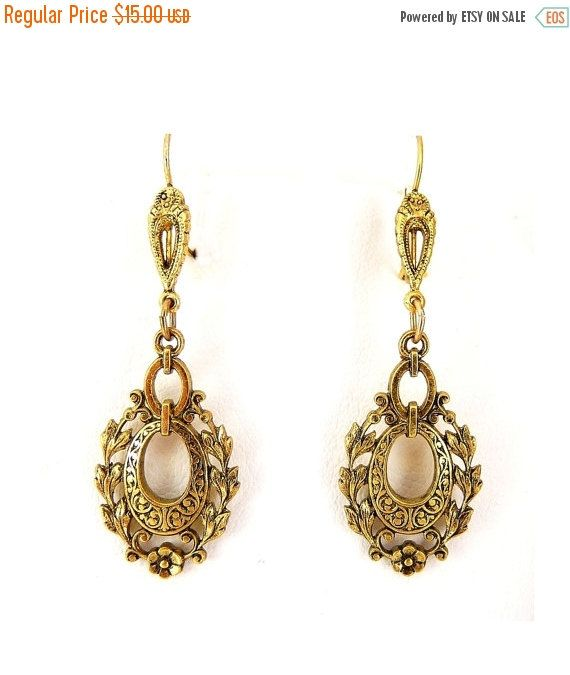 SALE Victorian Revival Style Antiqued Gold Earrings - Oval Wreathe Dangles, Pierced