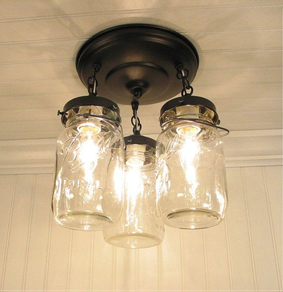 Mason Jar Light Fixture Trio Of Vintage Quarts Chandelier Lighting Ceiling Flush Mount Kitchen