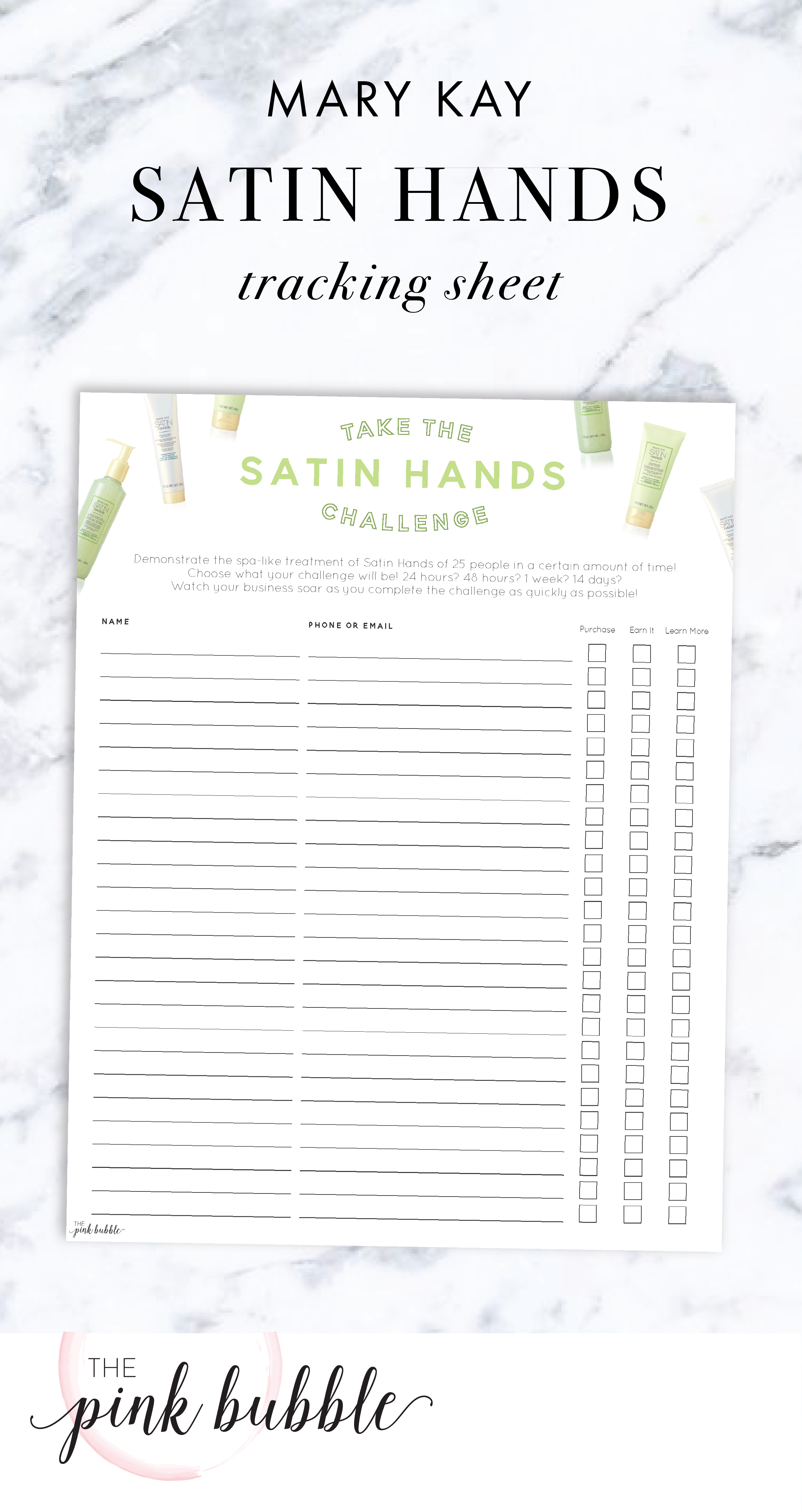 Mary Kay Satin Hands Challenge Tracking Sheet! Find it