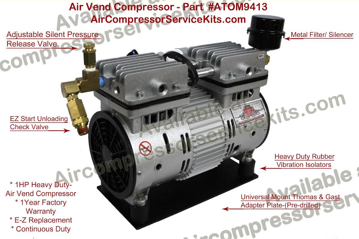 Air Vend 1 HP Oiless Duplex Air Compressor Pump/Motor With