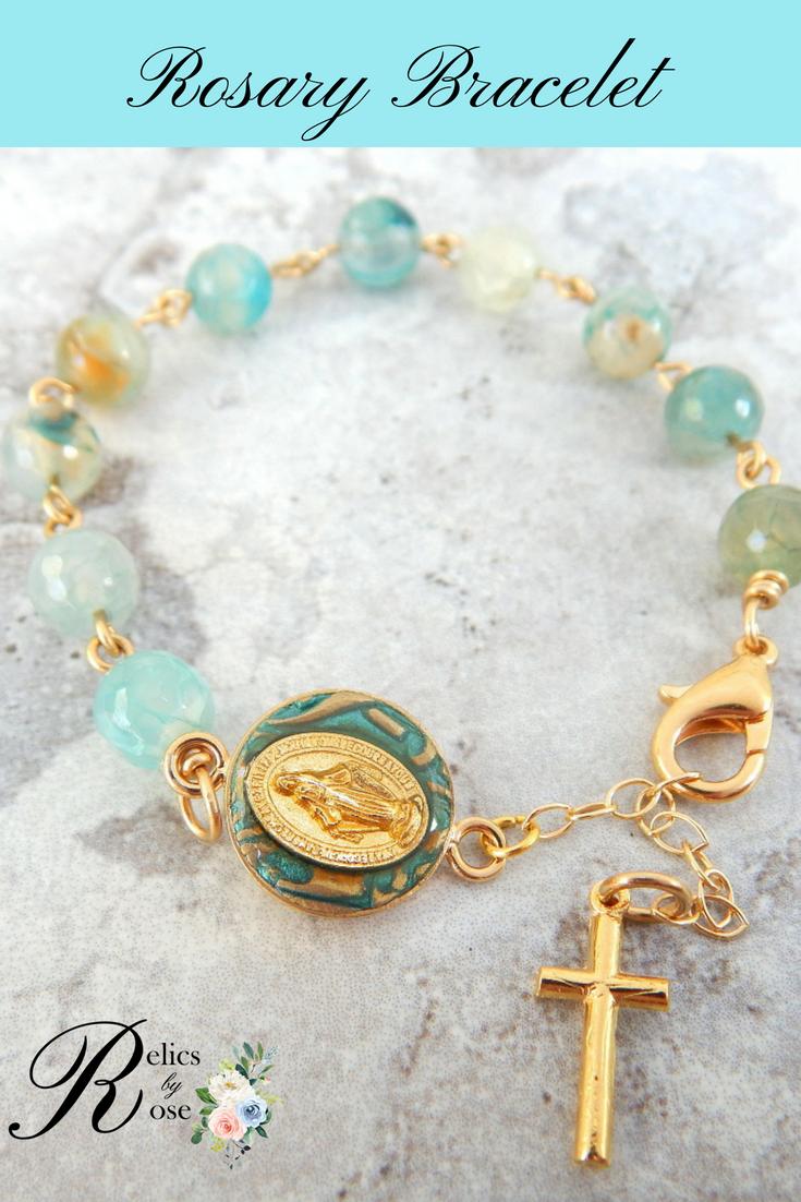 Catholic rosary bracelet gold miraculous medal catholic jewelry