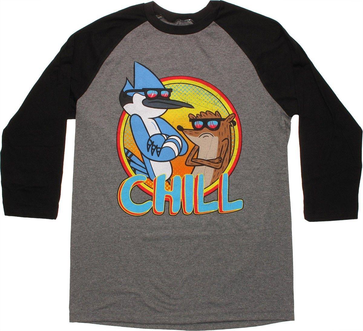Regular Show Chill 3 4 Raglan T Shirt Delicious Clothing Shirts