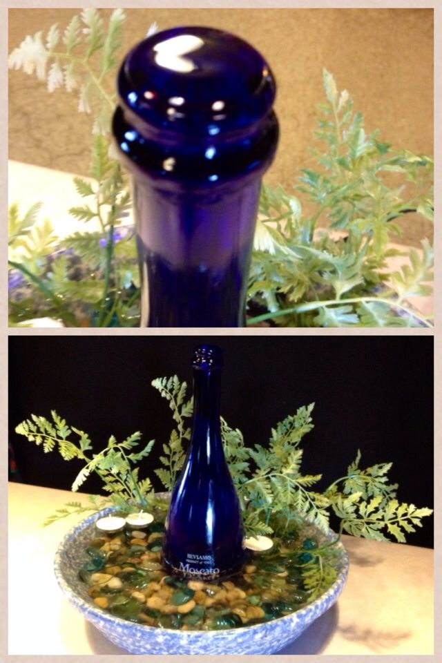 Tabletop Fountain With Wine Bottle And Stoneware Follow Us On Fb Delta Driftwood Kings Tabletop Fountain Wine Bottle Fountain Diy Fountain