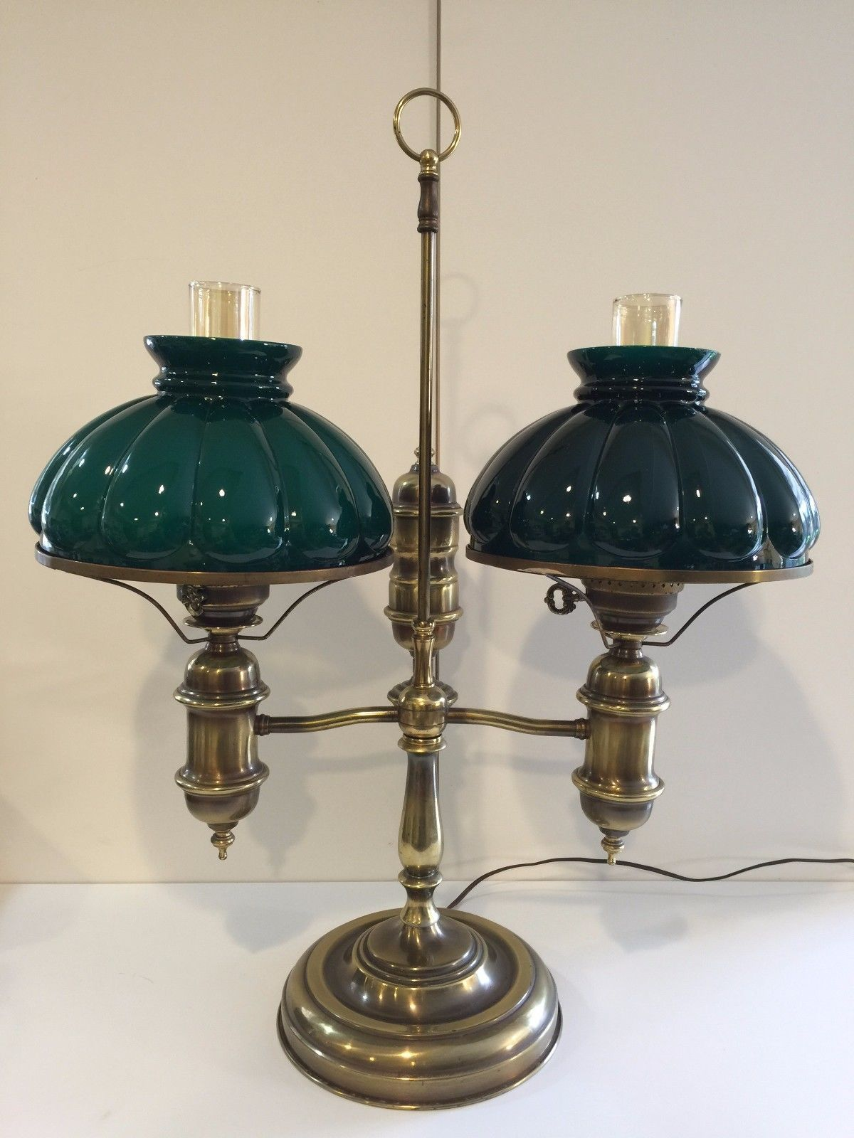 Antique Large Double Brass Student Lamp wGreen Shades Electrified – Desk Lamp Green Shade