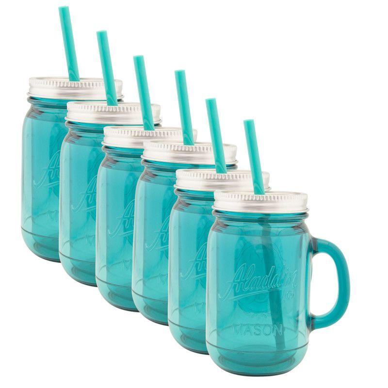 6pk Aladdin 20oz Plastic Mason Jar Mugs With Lids Straws Plastic Mason Jars Mason Jar Mugs Mason Jars