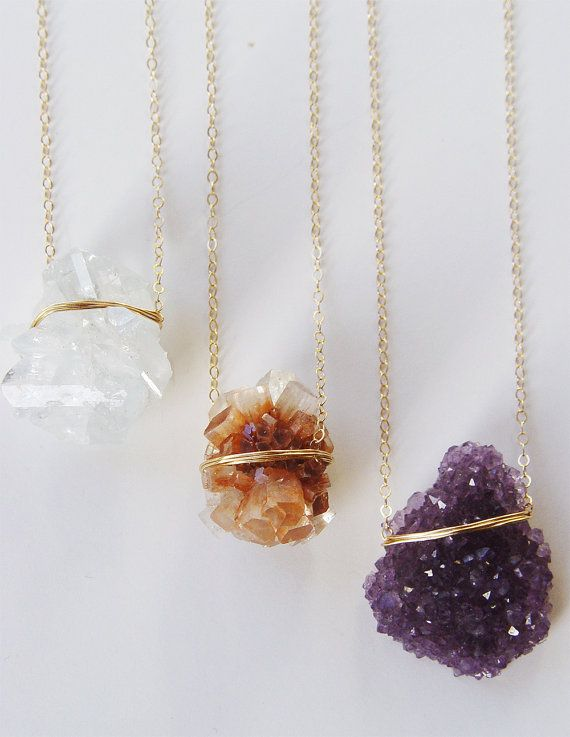 Photo of Amethyst Crystal Necklace, Layering Gold Necklace, Rough Amethyst Necklace
