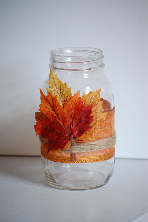 pictures of wedding centerpieces using mason jars%0A Autumn twine mason jar  fall shabby chic home decor  rustic fall wedding  decor