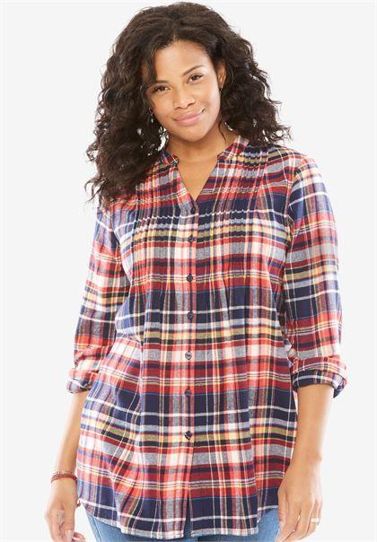 36449e6994e Pintuck flannel bigshirt