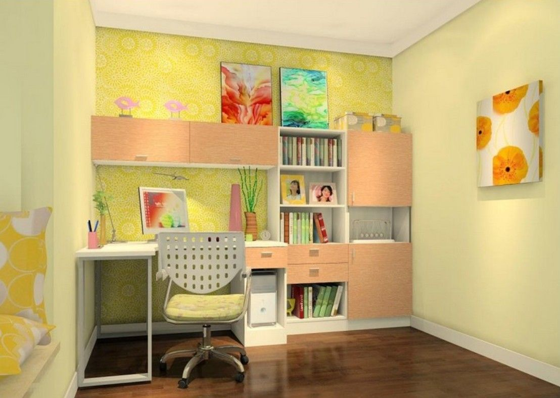 Exceptional Interior:Vibrant Kids Study Room Interior Design With Yellow Wallpaper And  Small Swivel Chair Easy