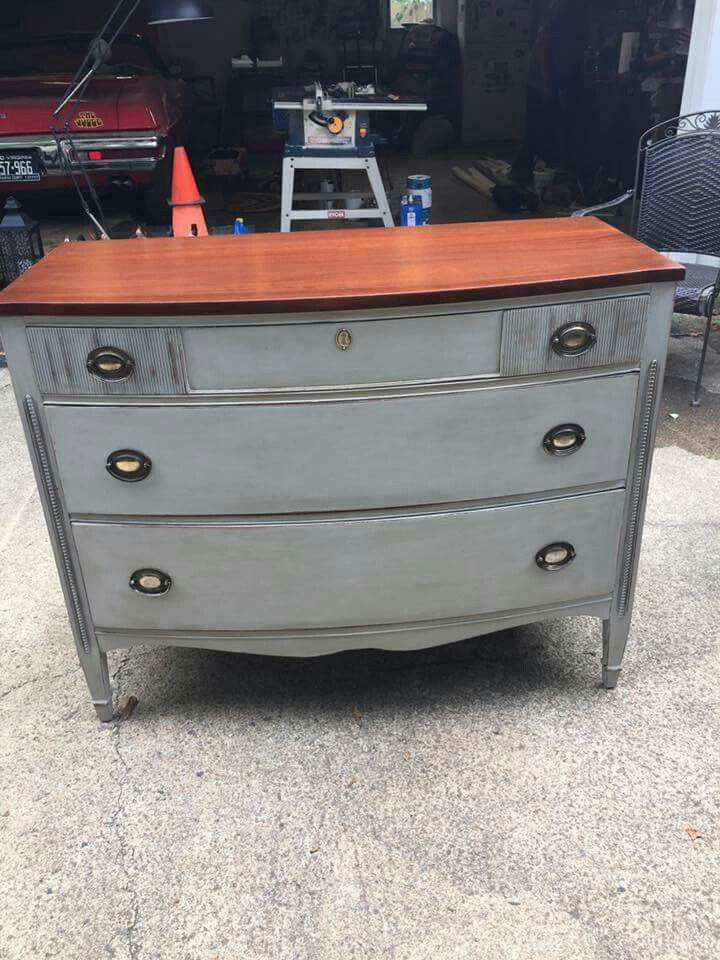 Rustoleum Aged Grey Chalk Paint From Home Depot With Clear And Dark Wax Restained The Top And Then P Gray Painted Furniture Painted Furniture Gray Chalk Paint