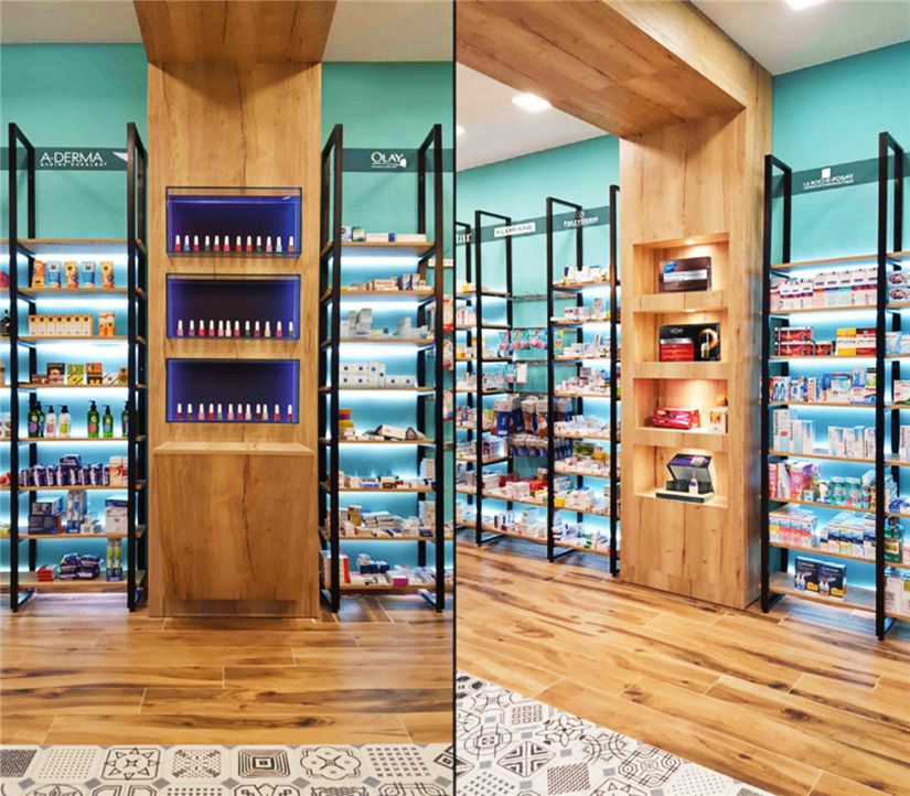 Small Furniture Stores: Wooden Wall Display Small Pharmacy Store Furniture Design