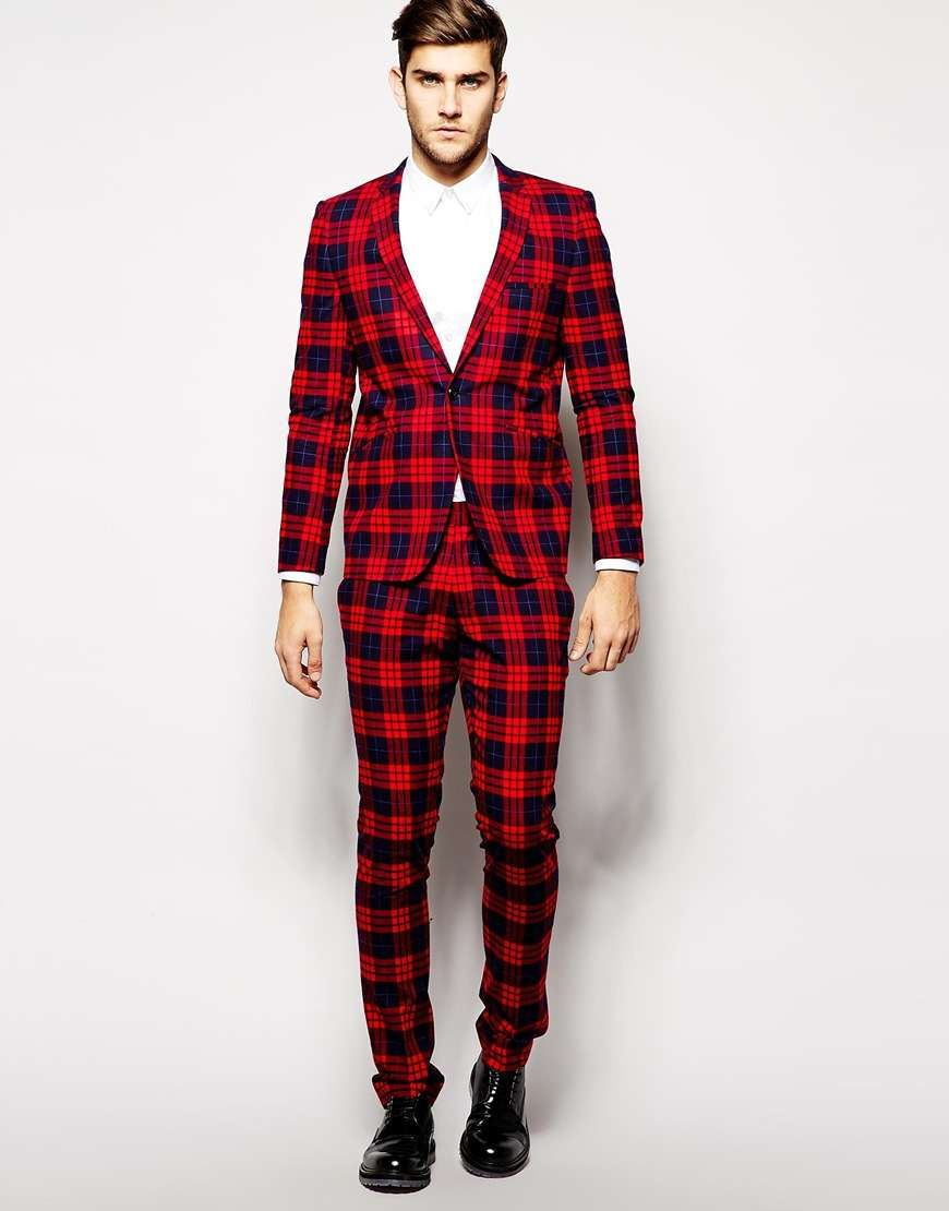 The Flashy Holiday Suit Vito Plaid Suit Jacket in Slim Fit