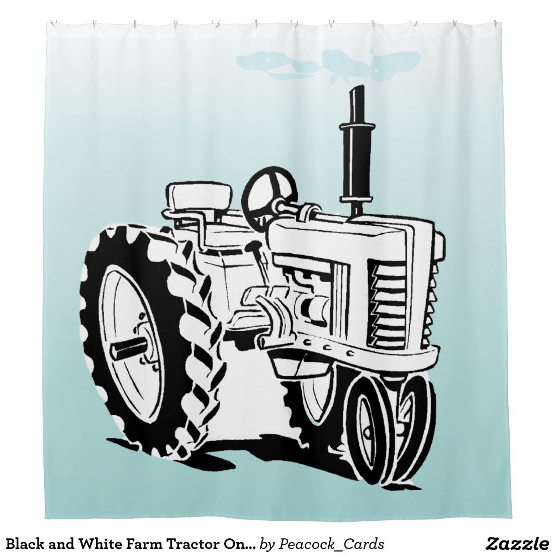 Black and white farm tractor on blue shower curtain