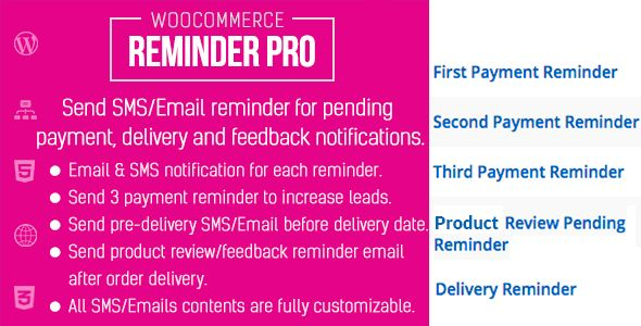 Woocommerce Reminder Pro  A Woocommerce Extension To Send Sms