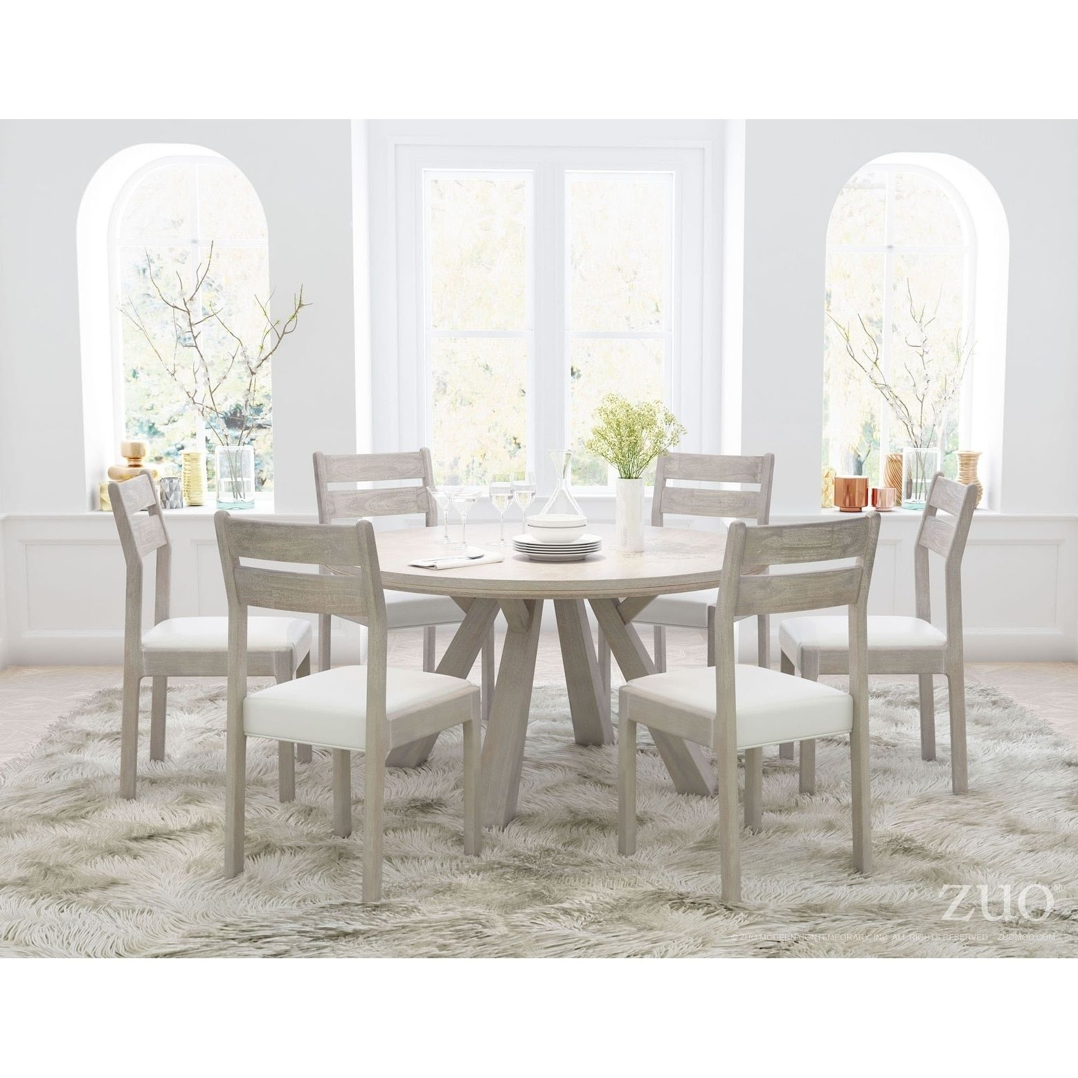 Beaumont grey acacia wood round dining table