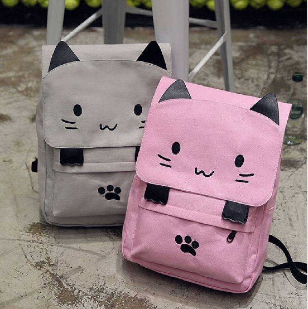 Kid S Kitten Design Canvas Backpack Price 28 46 Free Shipping Hashtag1 Kawaii Bags Bags Kawaii Backpack
