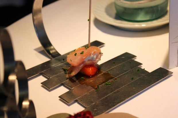 """""""Sardine and Strawberry"""" ~ an amuse-bouche from #Arzak Restaurant in #Spain ... Read more here: http://thechicbrulee.com/2013/08/12/arzak-a-review/"""