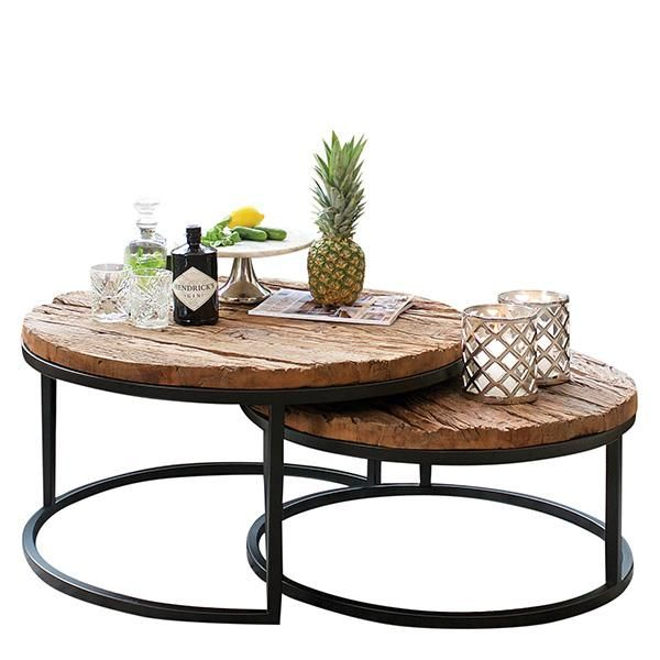 luxe kensington reclaimed wood industrial nest of tables on stunning wooden metal coffee table id=89634