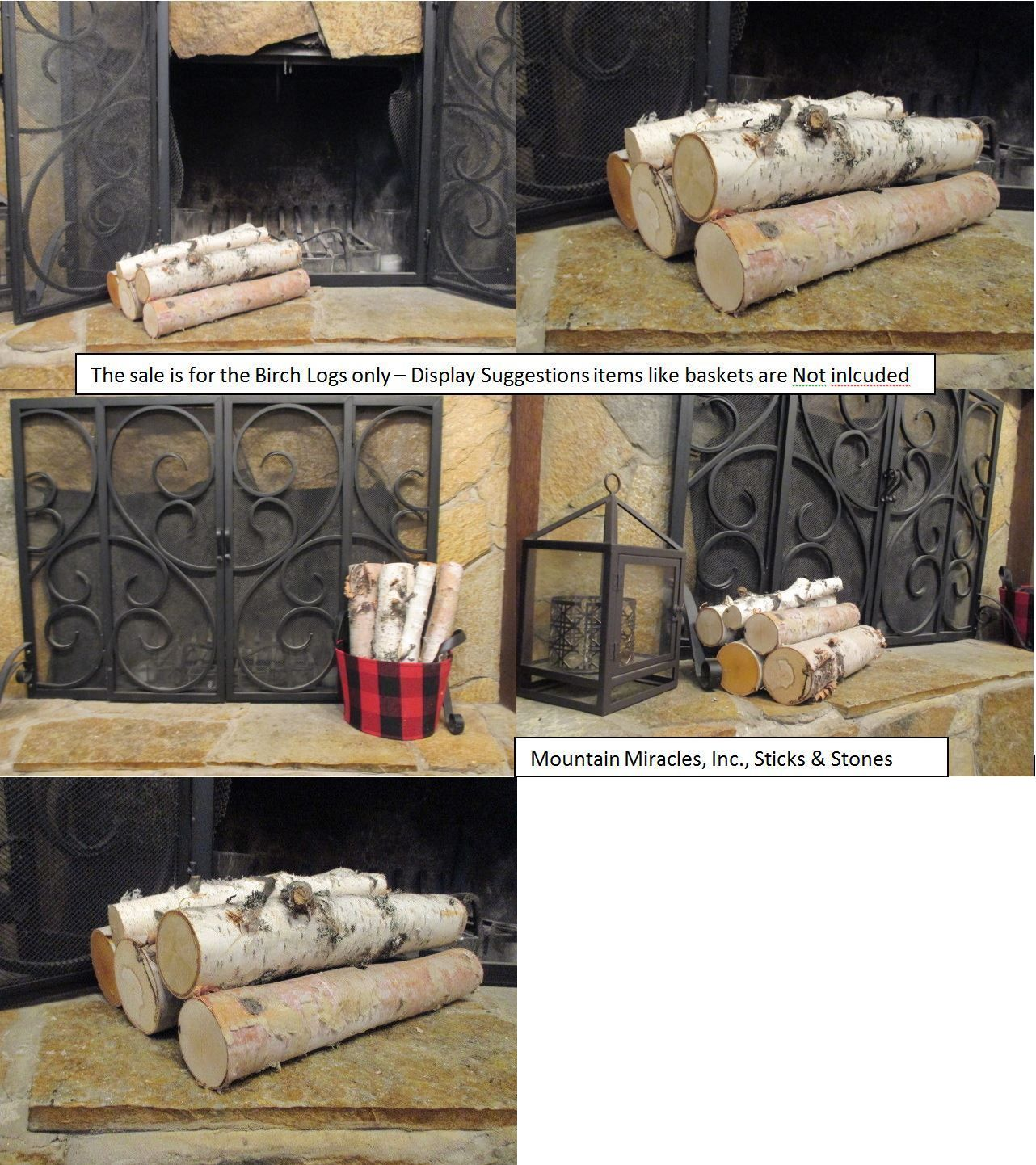 Decorative Logs Stone And Glass 38220 White Birch Log Set