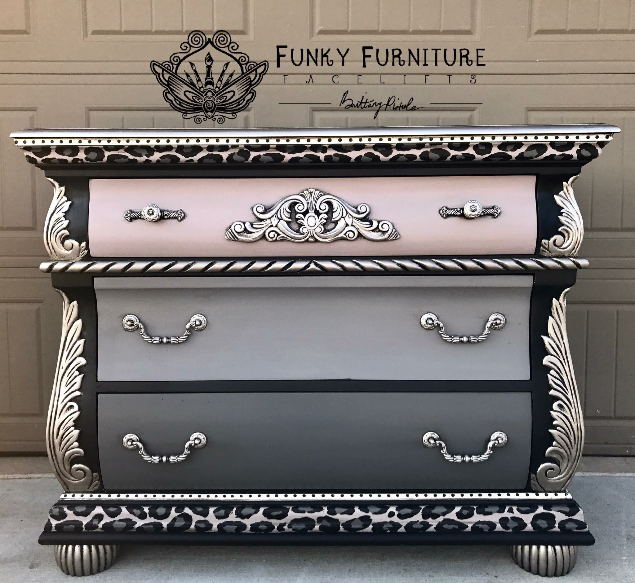 Pink to grey ombré French dresser