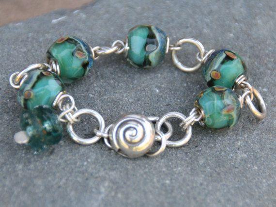 Vintage Sterling Silver Lampwork Glass Bracelet