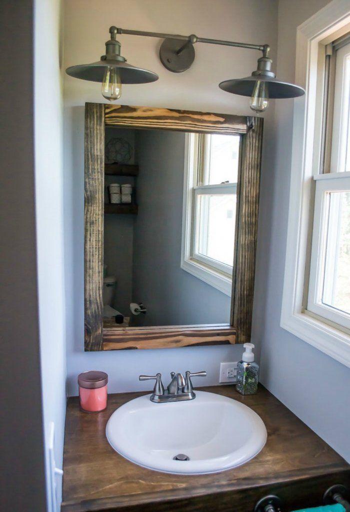 Merveilleux Bathroom Vanity With DIY Scrap Wood Mirror And Rustic Light Fixture