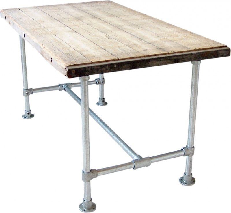 Tafel blad van steenschot met steigerbuis onderstel for Tafel van steenschotten