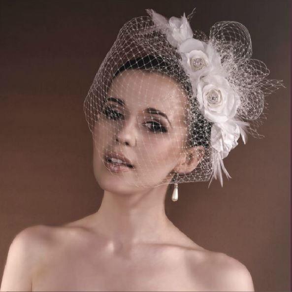 NoCoiffe Voilette Fleurs Strass Headband Cérémonie