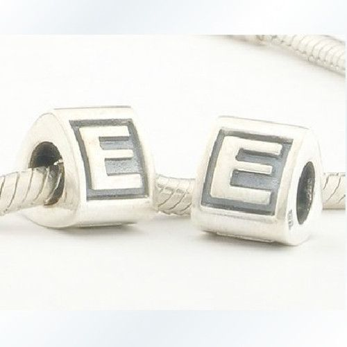 European Charm 925 Sterling Silver E  Letter Beads Jewelry Findings Components