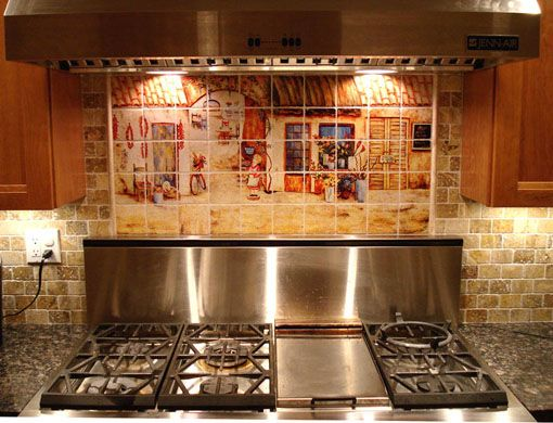 Mural Tiles For Kitchen Decor Italian Kitchen Color Themes  Tuscan Italian Kitchen Decorating