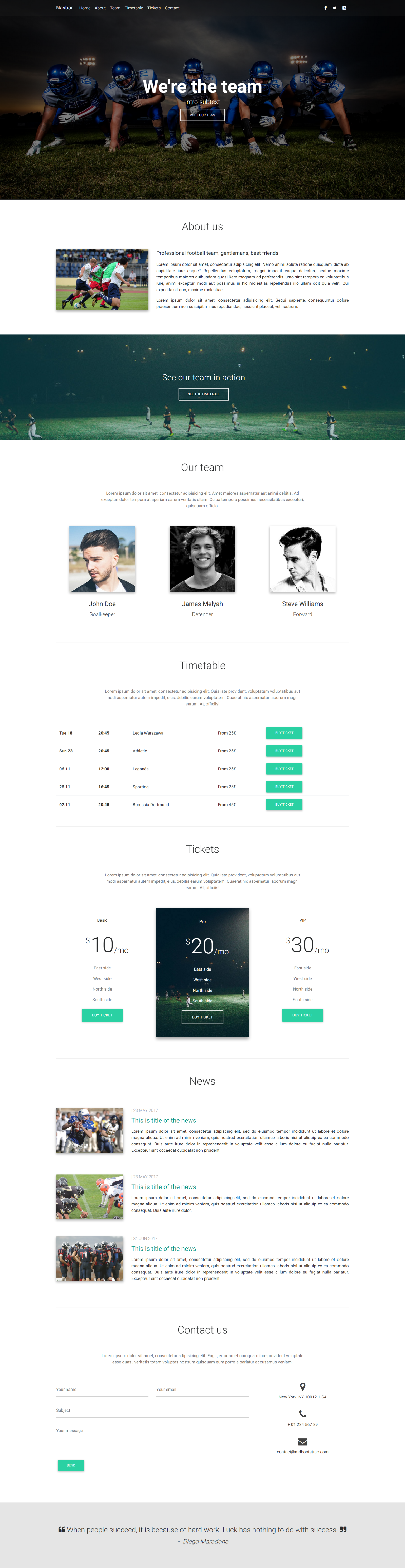 Team Portfolio Template created with Material Design for Bootstrap ...