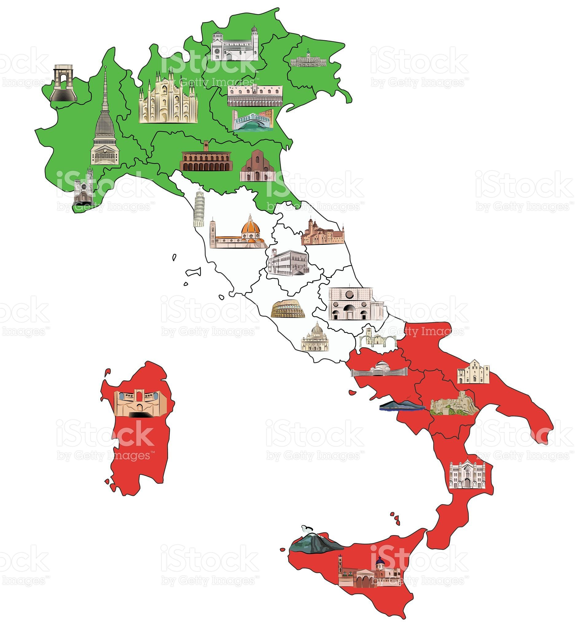 map of italy divided by regions with most famous sights in each italien pinterest. Black Bedroom Furniture Sets. Home Design Ideas