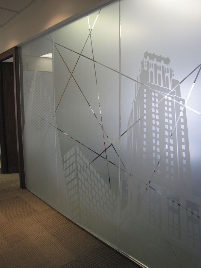 Frosted glass design patterns for office for Window design solutions