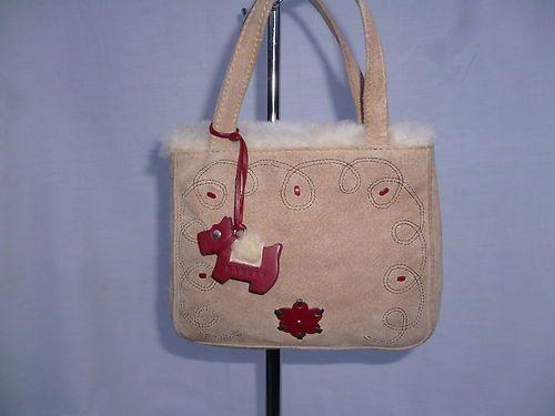 Radley Suede Leather Sheepskin Mini Grab Bag Handbag Dog Tag