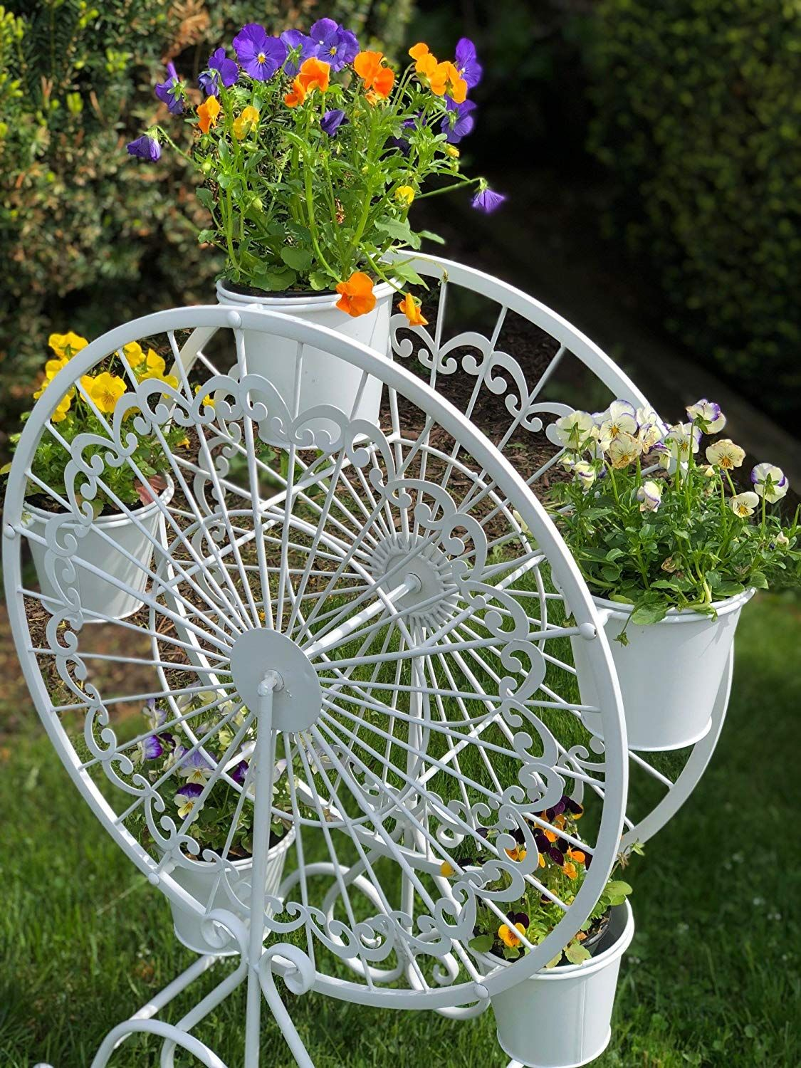 Iron ferris wheel plant stand with 5 pots
