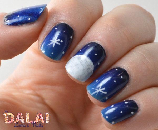 The Digital Dozen does Thankfulness - night sky nail art | The Dalai Lama's Nails