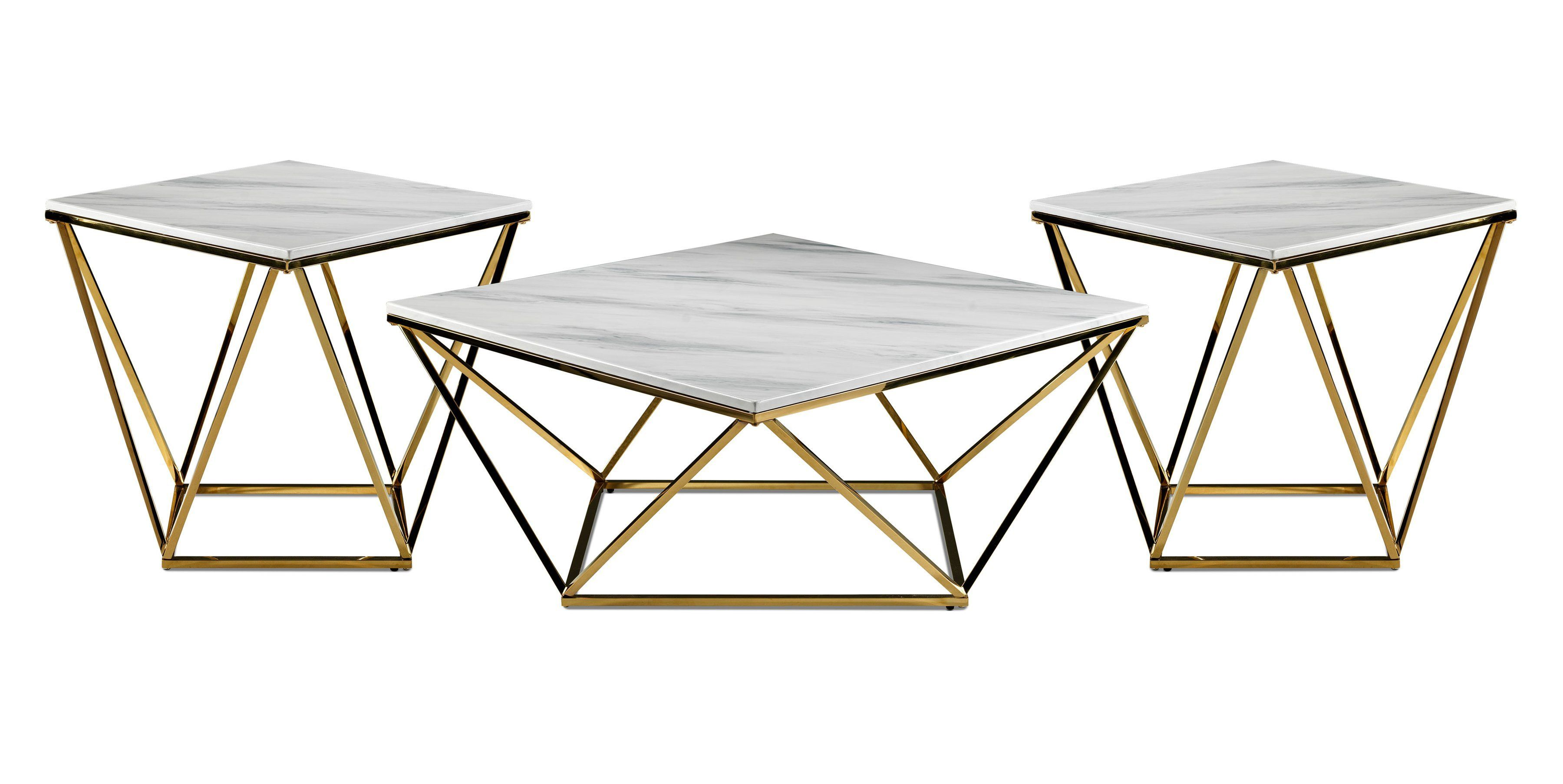 Lynn Coffee Table And Two End Tables Marble And Gold End