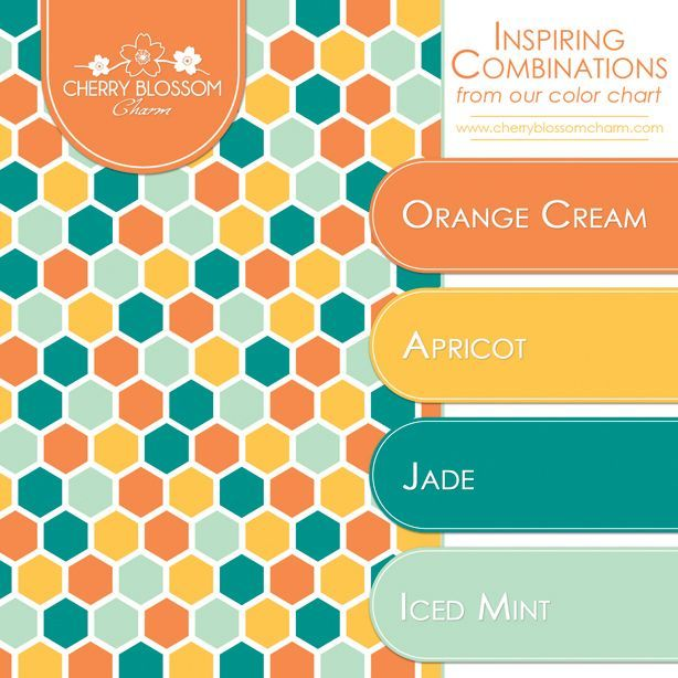 Fun combination of colors for fall - orange, yellow, jade and iced mint -