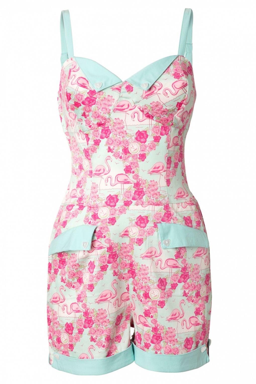 00d3e27e9f Collectif Clothing - 50s Futura Playsuit Flamingo Print
