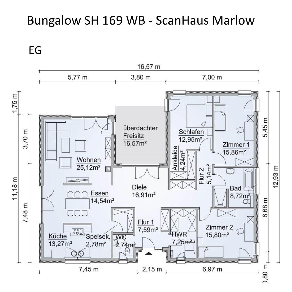 Bungalow Haus Grundriss In Uform Mit Walmdach Architektur 4 Zimmer